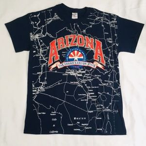 Vintage All Over Print Arizona State Map T-Shirt